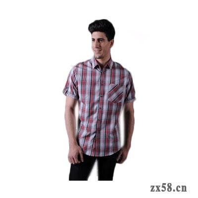 绿之韵男士短袖衬衣(红色格子)