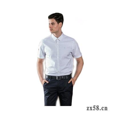 绿之韵男士白色方格商务衬衫
