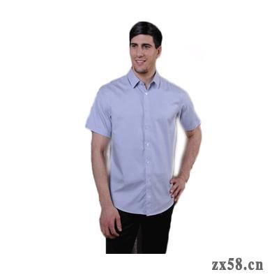 绿之韵男士短袖衬衣(浅蓝细格)