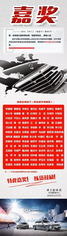 绿之韵2018年度晋升奔驰宝马俱乐部名单